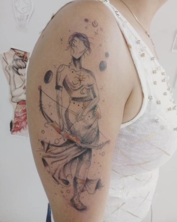 Zodiac Sagittarius Sketchwork Arm Tattoo