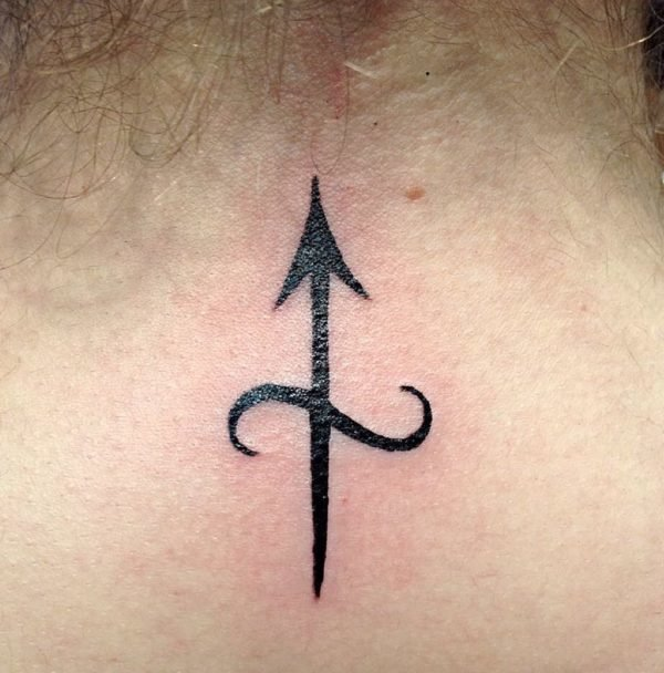 Sagittarius Symbol Back of Neck Tattoo