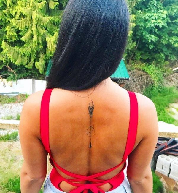 Zodiac Sagittarius Arrow Spine Tattoo