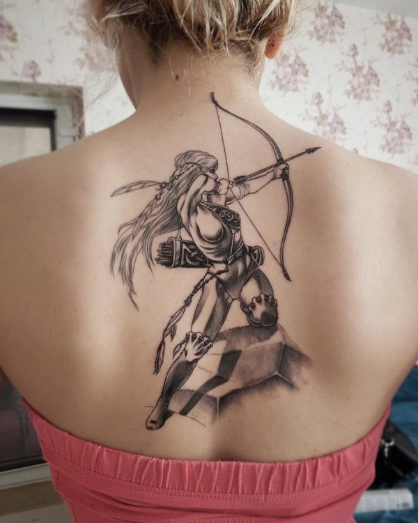 Sagittarius Illustrative Back Tattoo