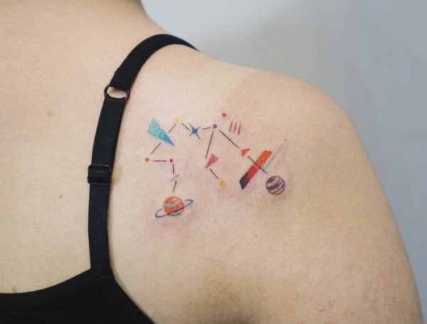 Aquarius Geometric Constellation Shoulder Blade Tattoo