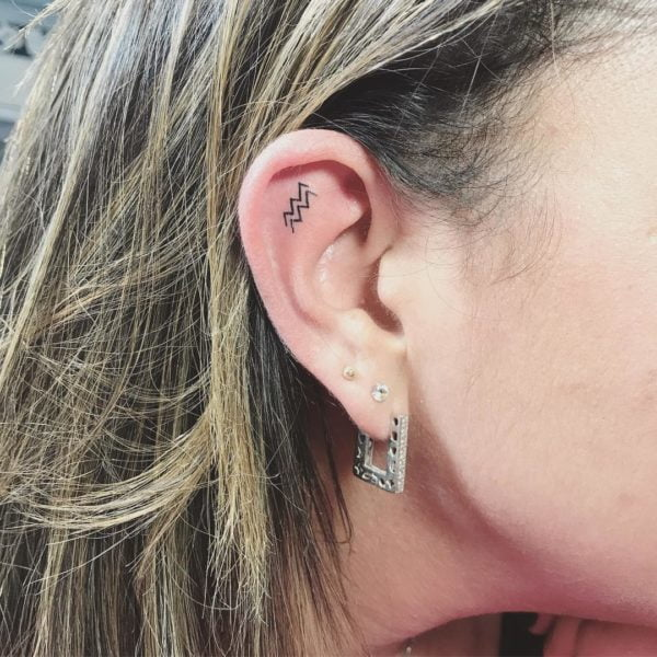 Mini Aquarius Sign Ear Tattoo