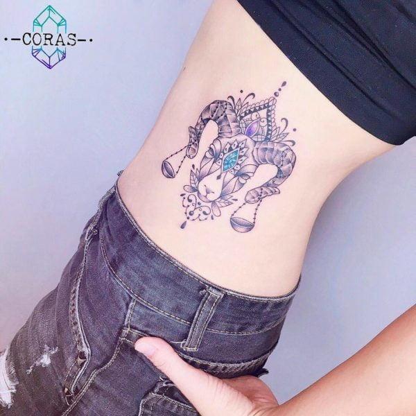 Libra and Aries Illustrative Side Tattoo