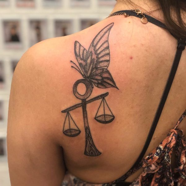 Libra Butterfly on Scales Shoulder Blade Tattoo