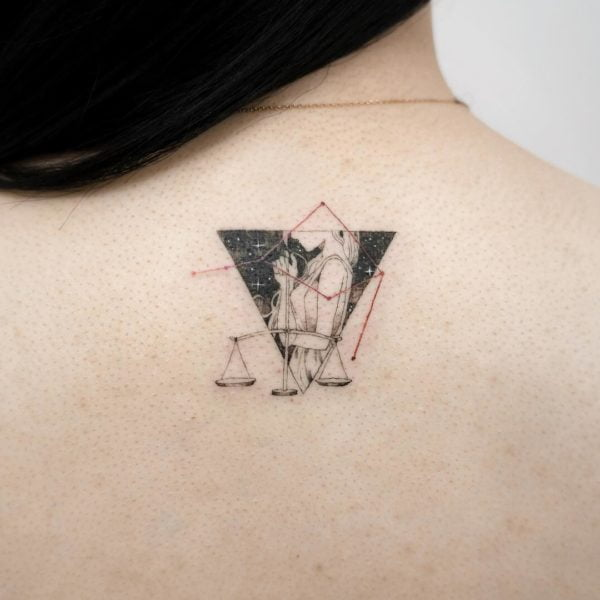 Libra Illustrative Balance and Constellation Back Tattoo