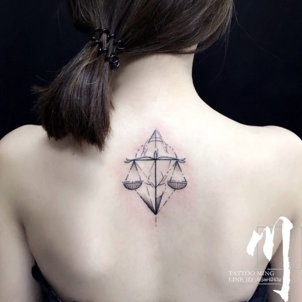 Libra Scale Geometric Back Tattoo