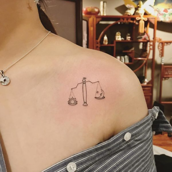 Libra Sun and Moon Scale Collarbone Tattoo