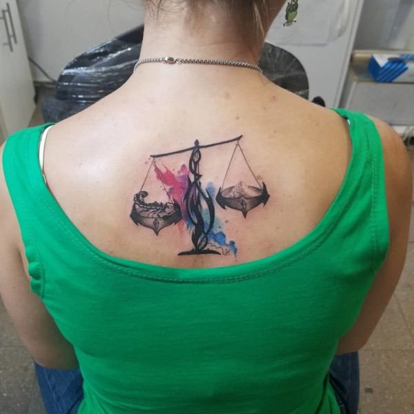 Libra Scale Watercolor Back Tattoo