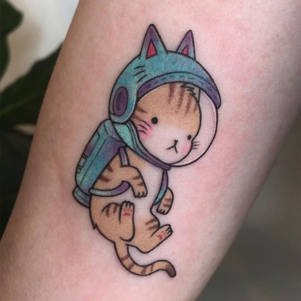 Astronaut Cat Cartoon Ankle Tattoo