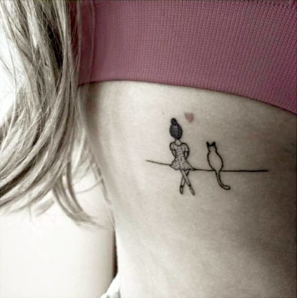 Cat and Me Clothesline Side Tattoo