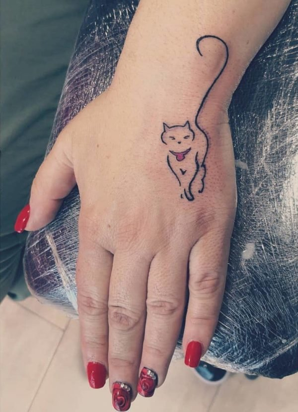 Cat Outline Back of Hand Tattoo