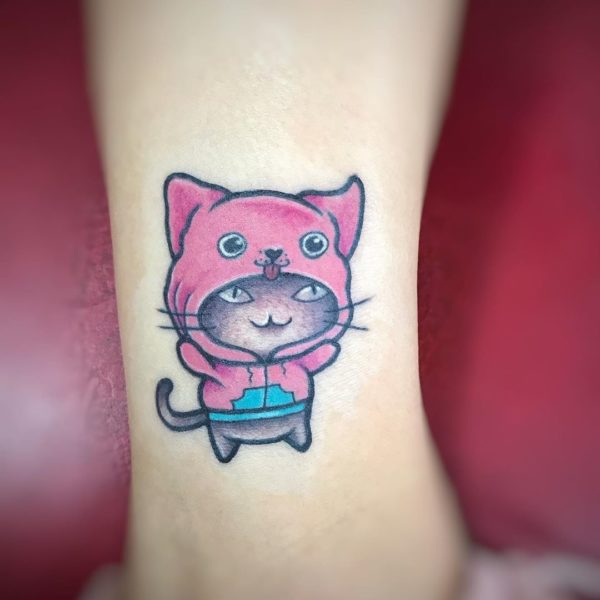 Cat with Hoodie Cartoon Ankle Tattoo