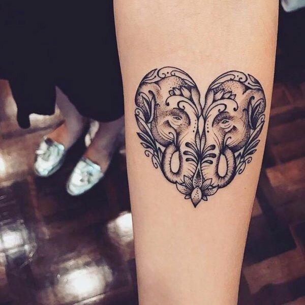 Gemini Elephants Heart Forearm Tattoo