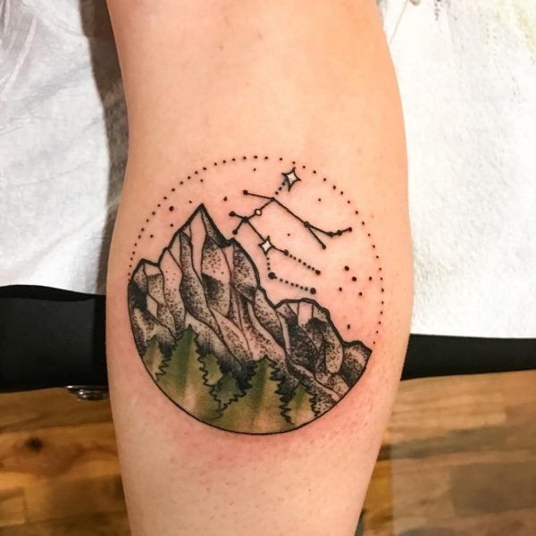 Gemini Constellation and Mountains Forearm Tattoo