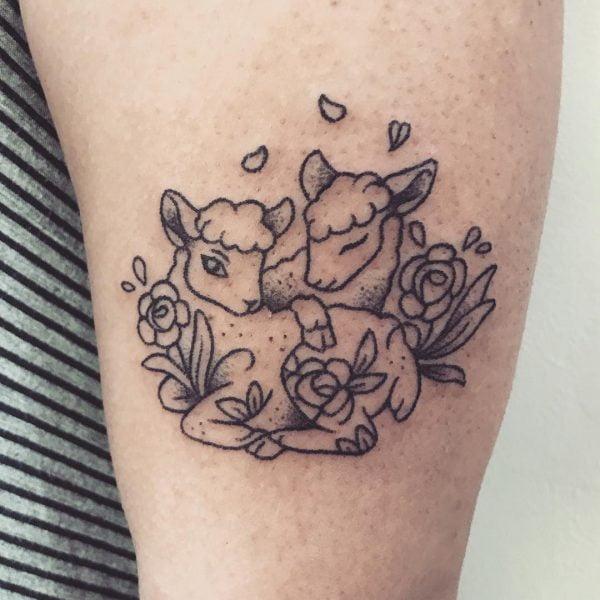 Gemini Twin Lamb Arm Tattoo