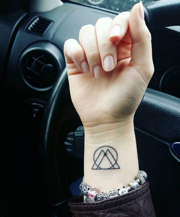 Mini Zodiac Gemini Symbol Line Art Wrist Tattoo