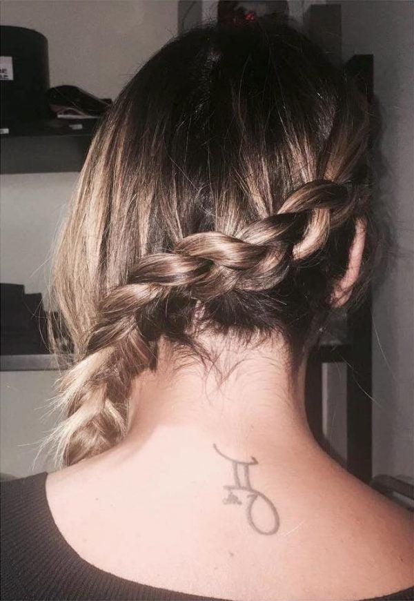 Zodiac Gemini Symbol Upper Back Tattoo
