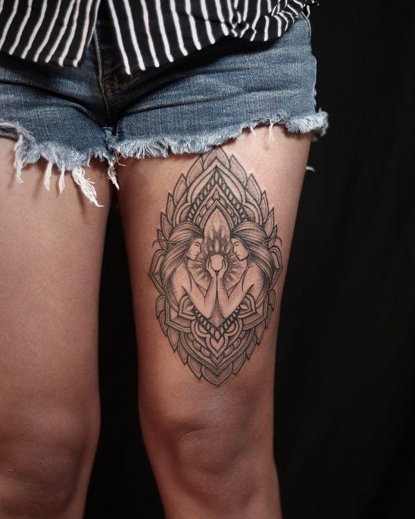 Zodiac Gemini Twins Dotwork Thigh Tattoo