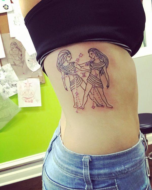 Gemini Twins Line Art Side Tattoo