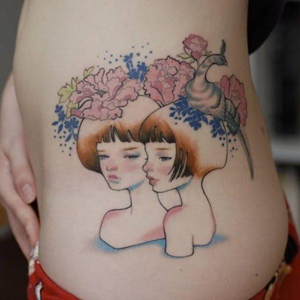 Gemini Twins Watercolor Side Tattoo