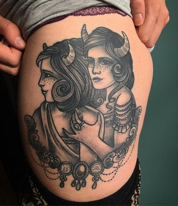 Zodiac Taurus Gemini Cusp Twins Realistic Thigh Tattoo