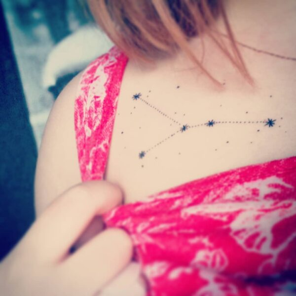 Zodiac Cancer Constellation Collarbone Tattoo
