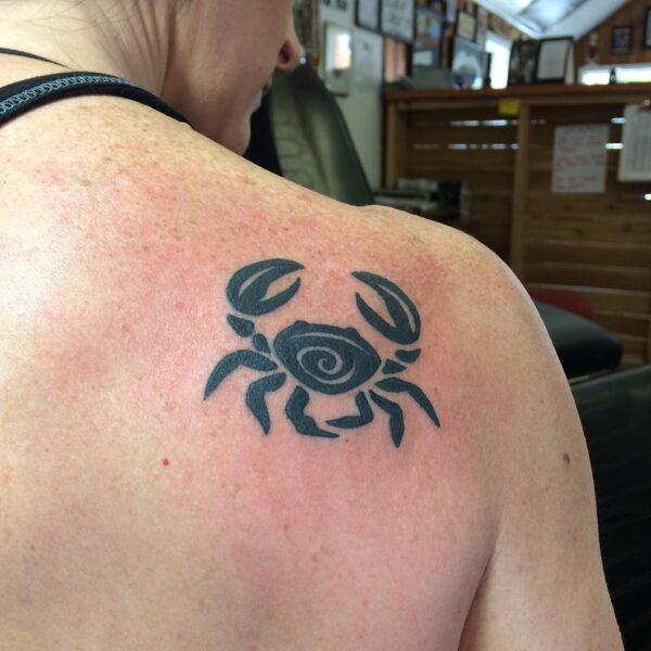Zodiac Cancer Crab Shoulder Tattoo