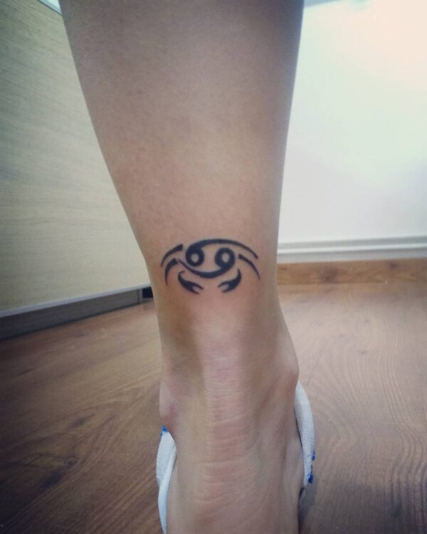 Cancer Crab and 69 Ankle Tattoo