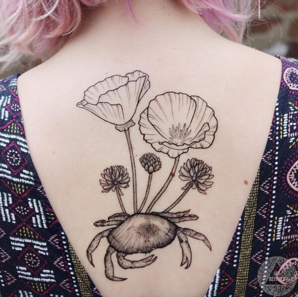 Zodiac Cancer Crab with Flowers Upper Back Tattoo