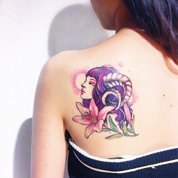 Zodiac Aries Fantasy Woman Color Upper Back Tattoo