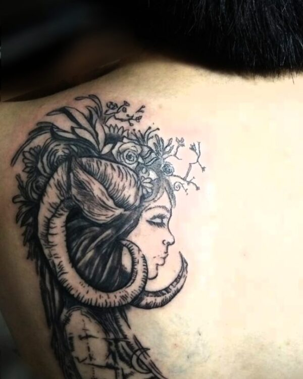 Zodiac Aries Woman Fantasy Upper Back Tattoo