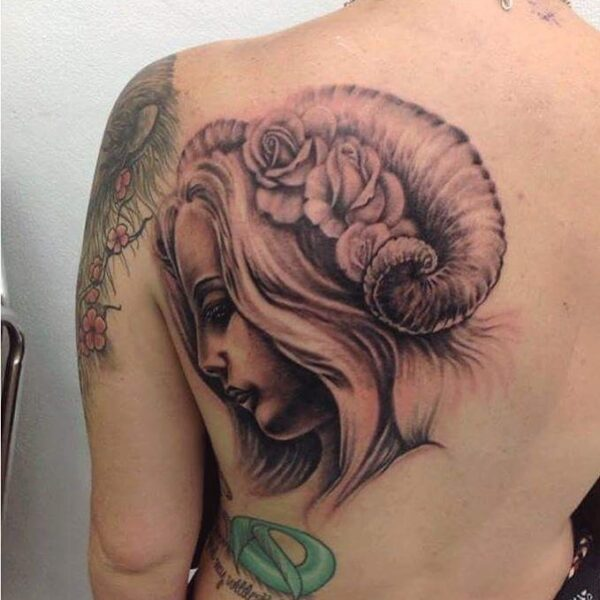 Zodiac Aries Fantasy Woman Upper Back Tattoo