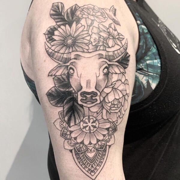 Taurus Bull Upper Arm Tattoo