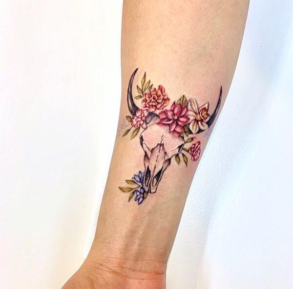 Taurus Floral Bull Skull Wrist Tattoo