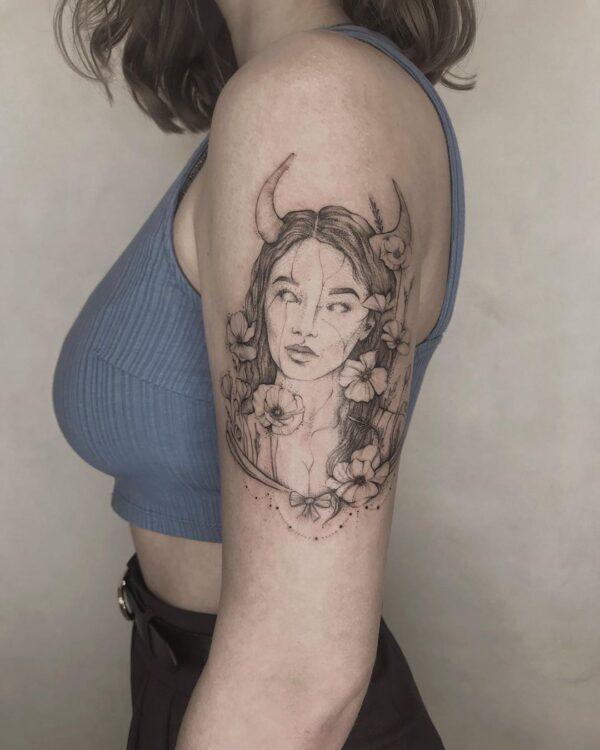Taurus Girl with Horns Illustrative Arm Tattoo