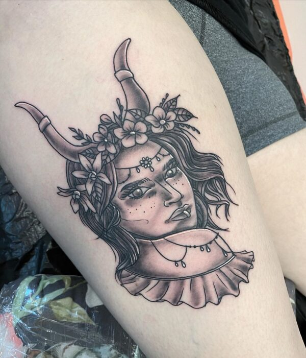 Taurus Fantasy Girl Thigh Tattoo