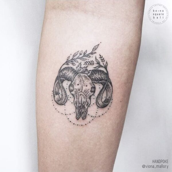 Zodiac Taurus Bull Stick and Poke Forearm Tattoo