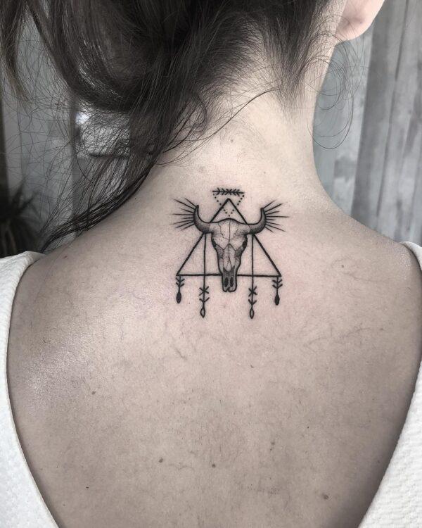 Taurus Bull Skull Back of Neck Tattoo