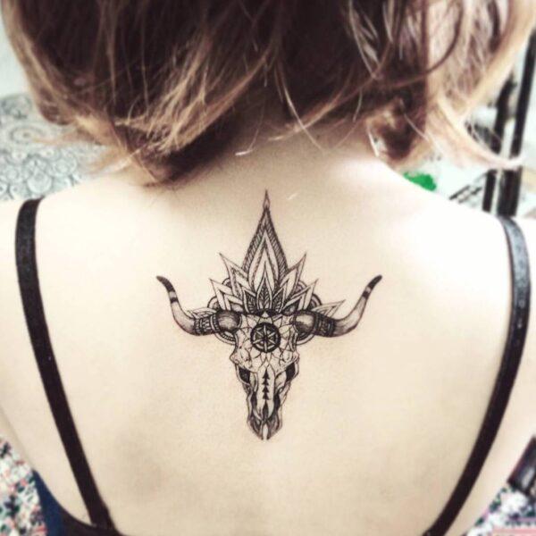Taurus Bull Skull Upper Back Tattoo