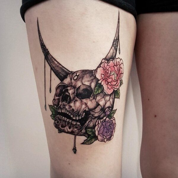 Zodiac Taurus Skull Horns and Flowers Thigh Tattoo