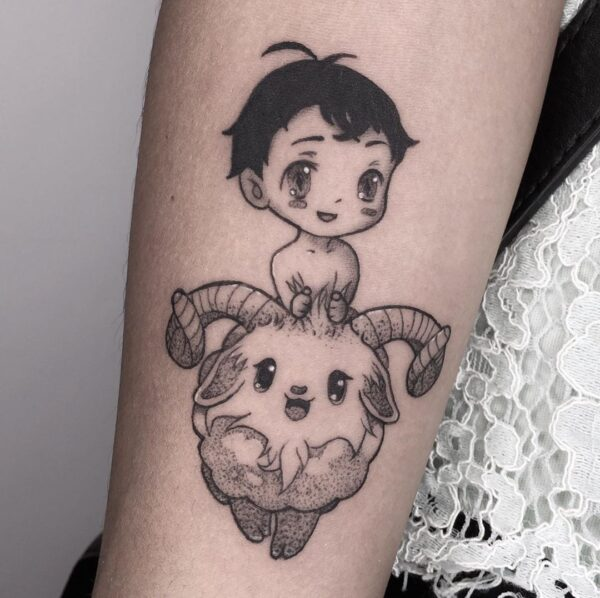 Aries Manga Forearm Tattoo