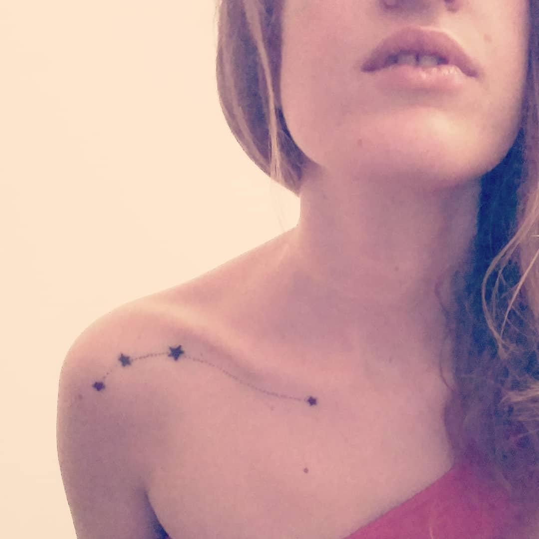 Zodiac Aries Constellation Shoulder Tattoo