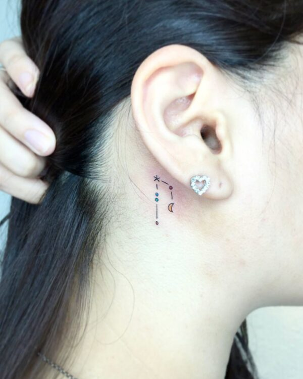 Aries Color Constellation Behind Ear Tattoo