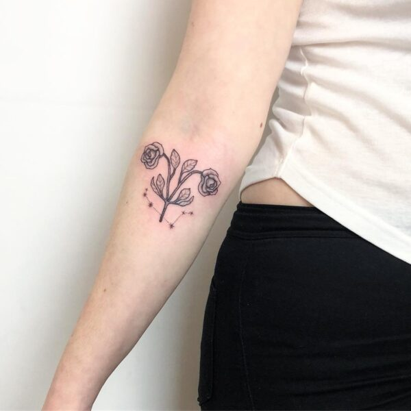 Zodiac Aries Flower Lower Arm Tattoo