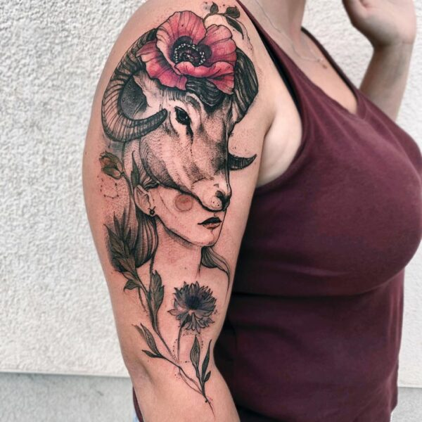Aries Girl with Rams Head Shoulder Tattoo