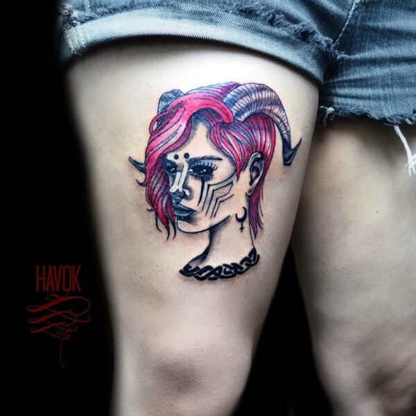 Aries Girl Color Thigh Tattoo