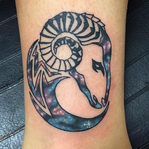 Aries Ram Galaxy Ankle Tattoo