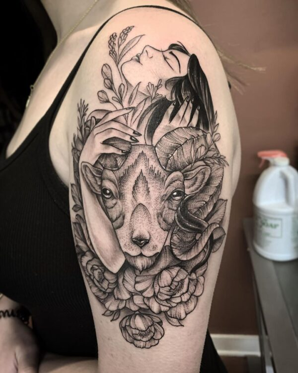 Aries Ram Head with Woman Shoulder Tattoo