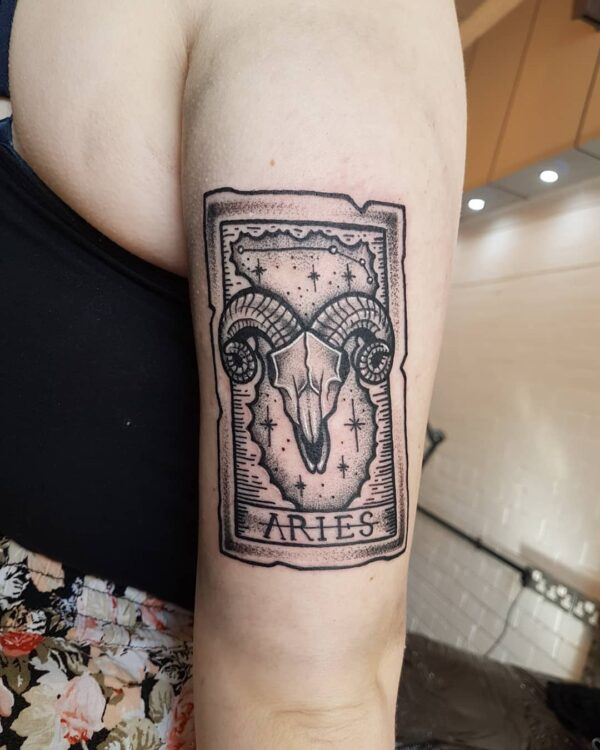 Aries Skull and Tarot Card Arm Tattoo
