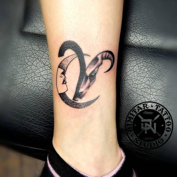 Aries Symbol and Crescent Moon Ankle Tattoo